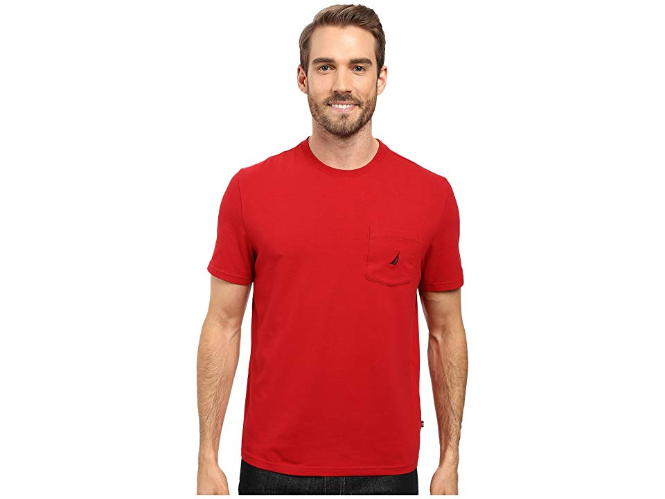 027e4a89 Nautica Short Sleeve Solid Anchor Pocket Tee (Nautica Red) Men's T Shirt.  Set the bar high in a weekend-ready Nautica Anchor Pocket T-Shirt.