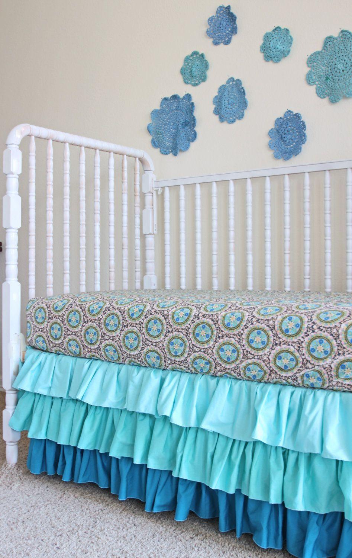 Ombre Ruffled Crib Skirt Hand Dyed Doily Art Love That