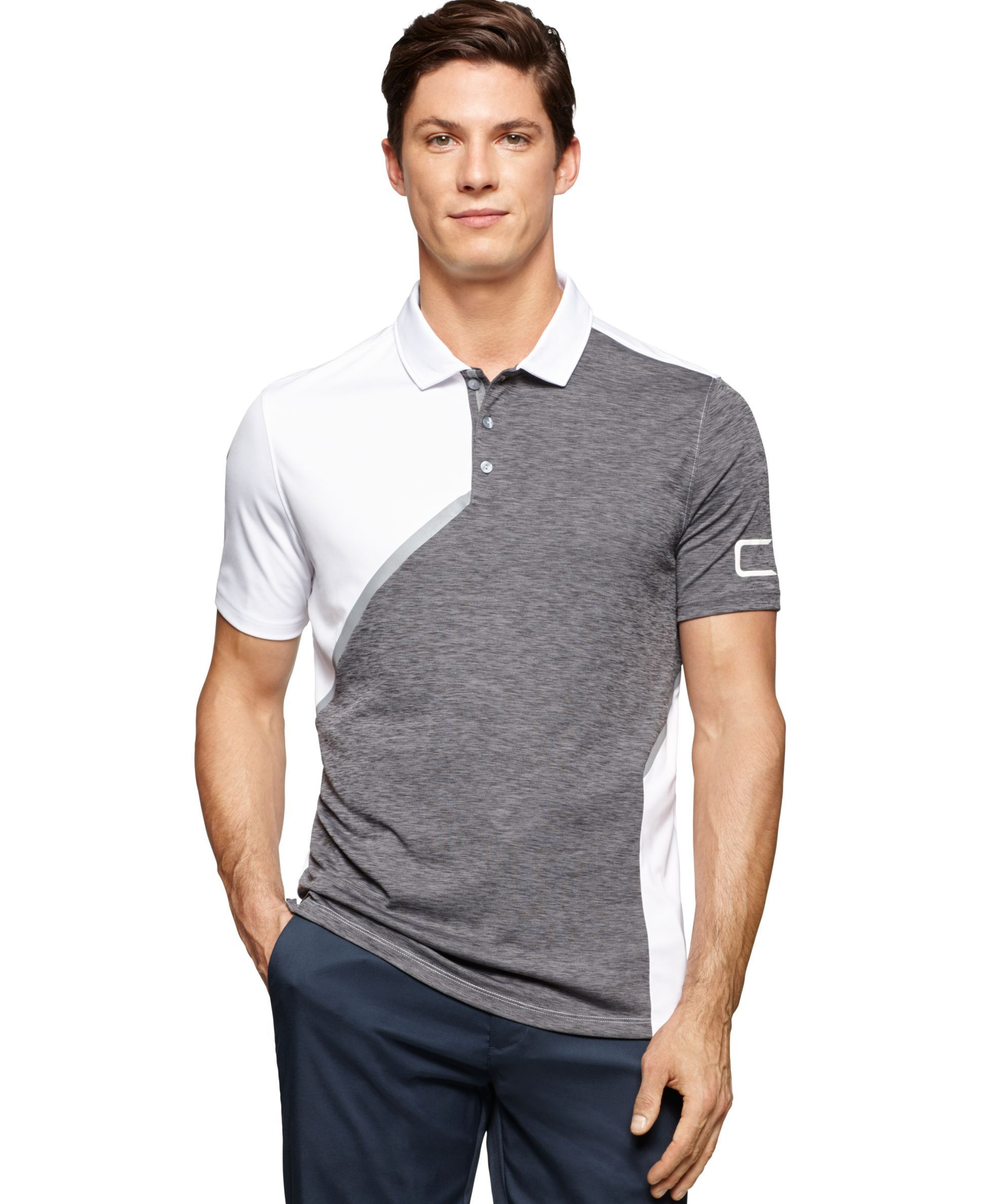 791380d9c5b78 Calvin Klein Asymmetrical Color Blocked Polo Mens Polo T Shirts