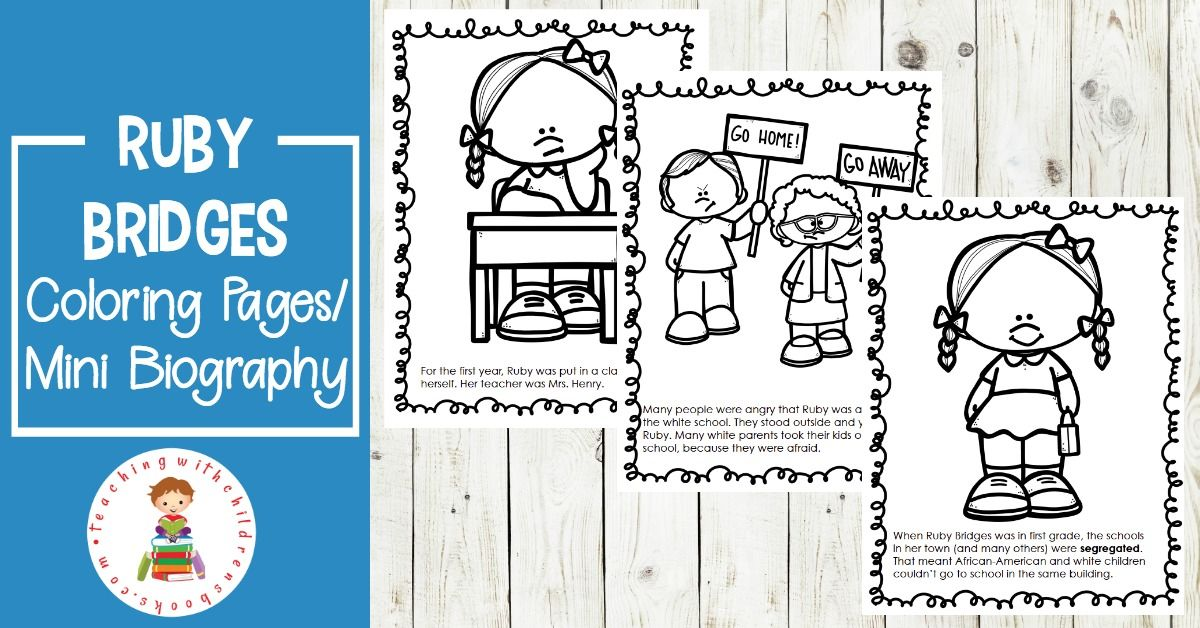 Free Printable Ruby Bridges Coloring Page Packet Ruby Bridges Ruby Bridges Craft Coloring Pages