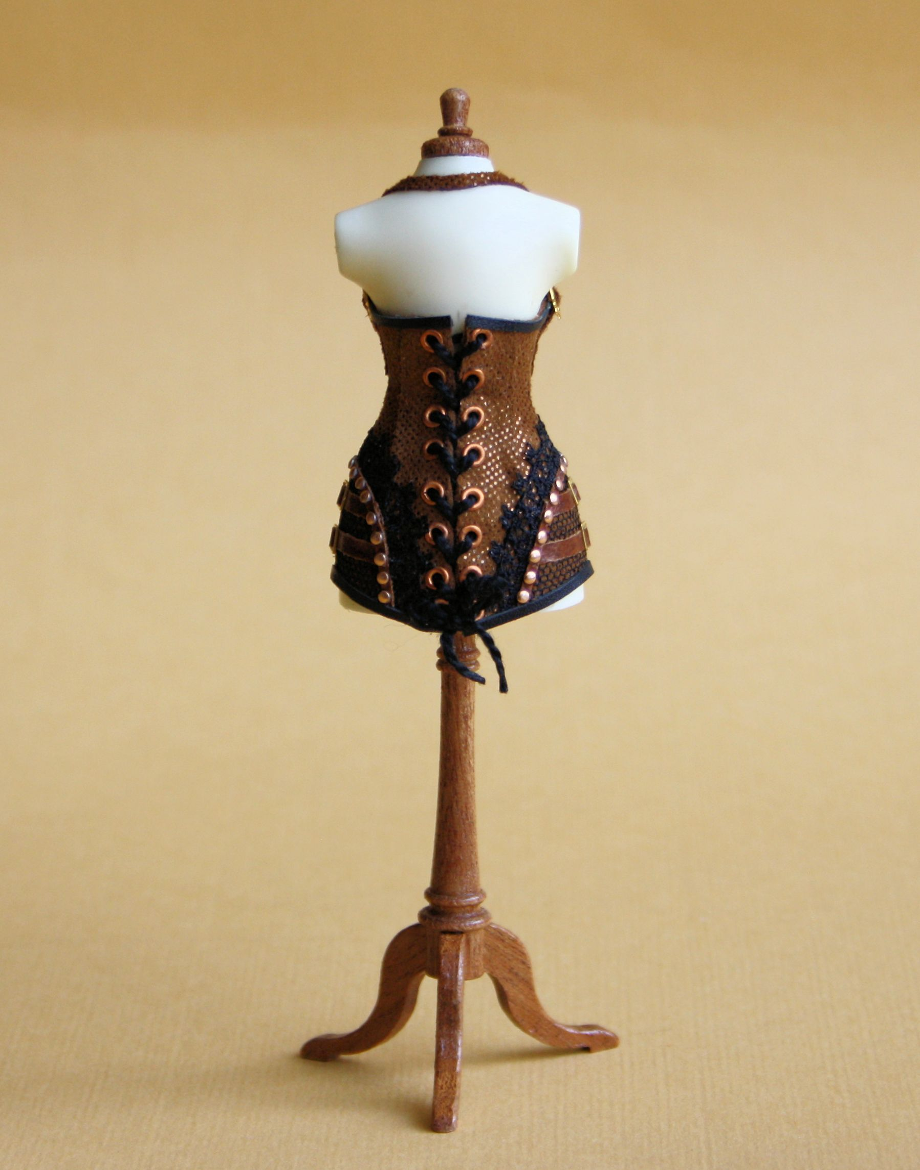 Steampunk corset, back, scale 1 : 12, suede, leather, lace and eyelets, made by Will Werson.