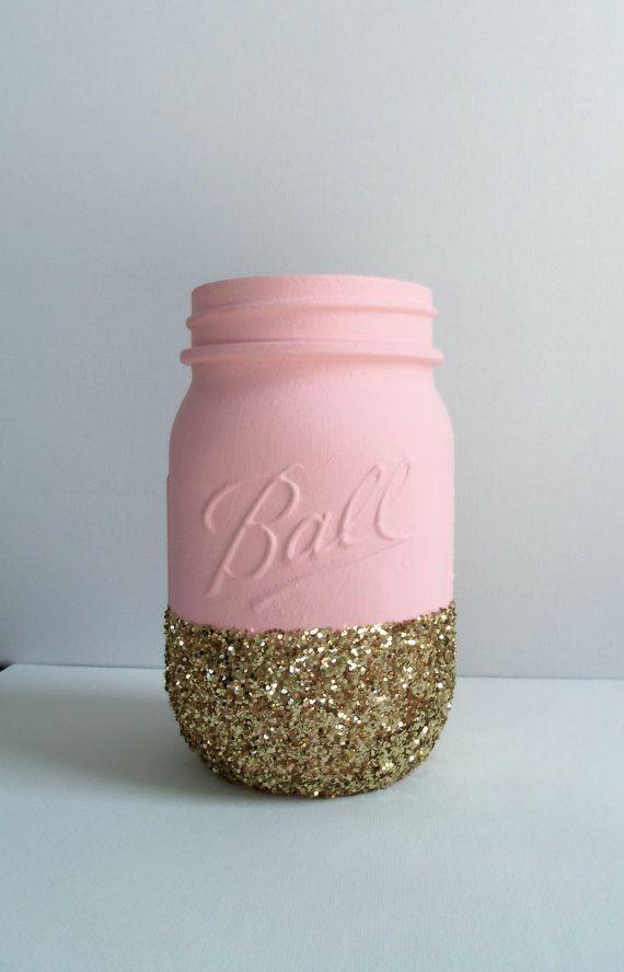 how to make gold glitter mason jars