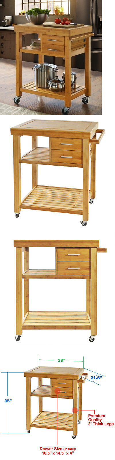 Kitchen Islands Carts 115753 Rolling Bamboo Island Cart Trolley Cabinet W Towel