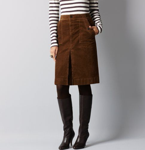 dcb3812d6b I've got a short brown corduroy skirt for fall..love the striped shirt  paired with it!