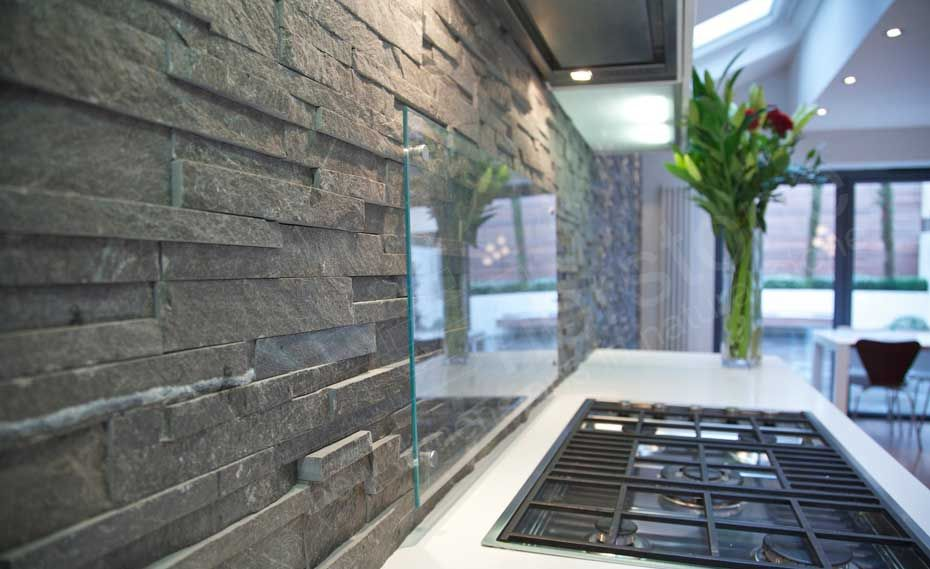 Natural Stacked Stone Backsplash Made With Norstone Series Charcoal Ledgestone Panel