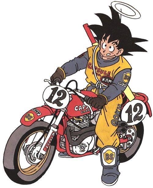 Goku On A Motorcycle Dragon Ball Art Dragon Ball Artwork Dragon Ball