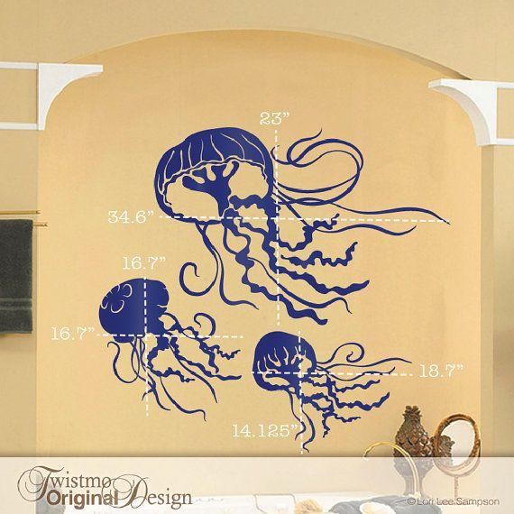 3 Jellyfish Decals Bathroom Wall Decor Under the Sea by Twistmo ...