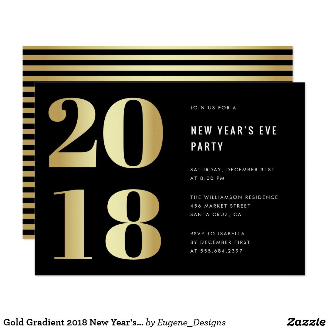 gold gradient 2018 new years eve party invitation