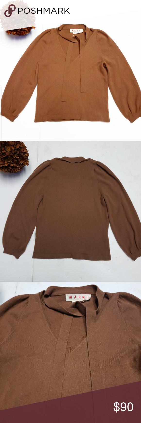 b3b190068b8 🎉MARNI Cashmere Brown Puff Crepe Style Sweater🎉 🎉MARNI Brown Puff ...