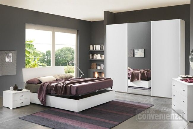 CITY - Camera da letto matrimoniale completa con letto contenitore, colore bianco frassino ...