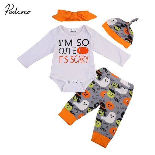 Newborn Infant Baby Halloween Letter Pumpkin Romper Jumpsuit+Pants Set Clothes