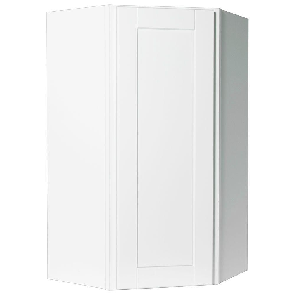 Charmant Hampton Bay Shaker Assembled 24x42x12 In. Diagonal Corner Wall Kitchen  Cabinet In Satin White
