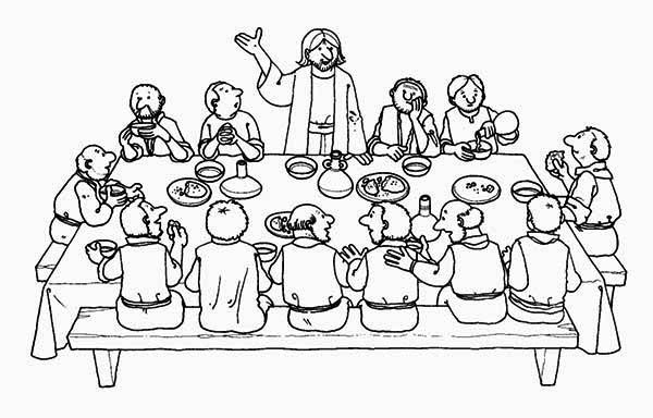 Last Supper, : Jesus Standing in Front of His Apostles in