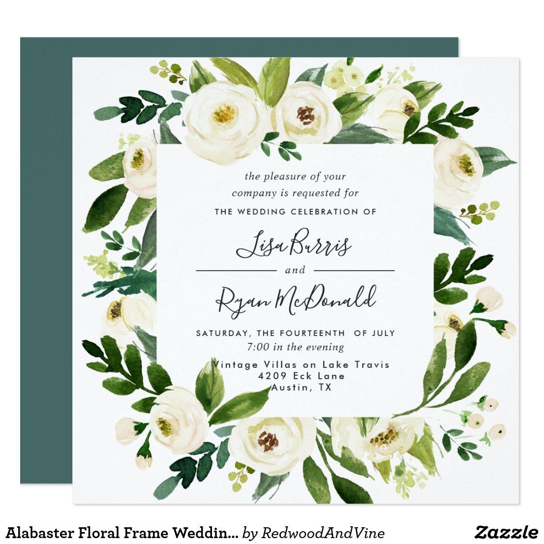 Alabaster Floral Frame Wedding Invitation   Square   wedding ...
