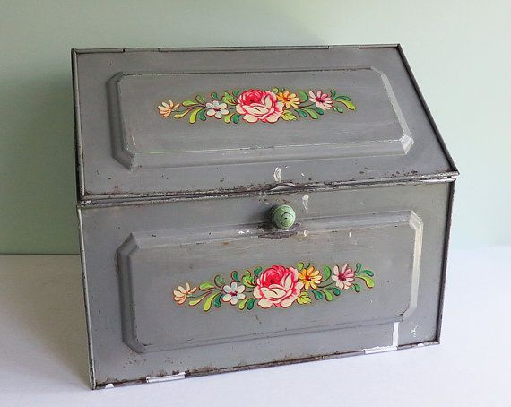 1950s Shabby Metal Bread Bin With Gray Paint And Vintage Flower