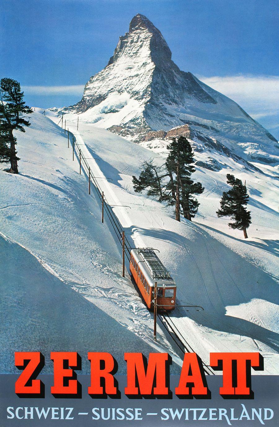 Zermatt Switzerland Vintage Travel Poster Travel Posters Vintage Ski Posters Vintage Travel Posters