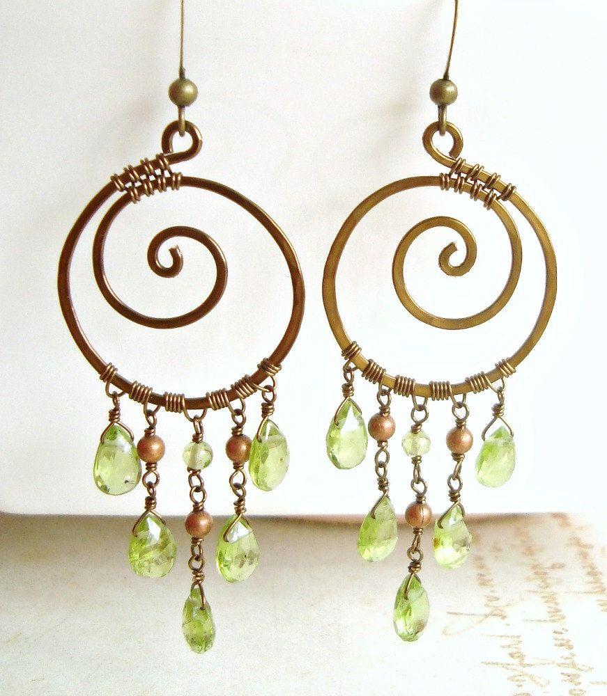 Peridot chandelier earrings koru earrings green copper swirl peridot chandelier earrings koru earrings green copper swirl earrings boho hoops gypsy mozeypictures Choice Image