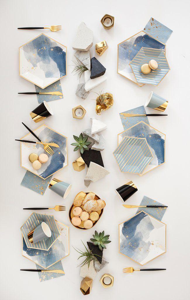 Malibu - blau gestreifte kleine Pappteller #papernapkins