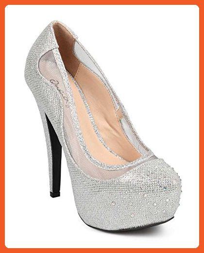 b39116879de7 Qupid DG34 Women Glitter Almond Toe Rhinestone Mesh Platform Stiletto Pump  - Silver (Size