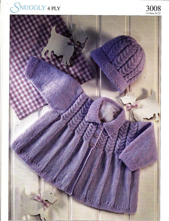 3008 Sirdar Knitting Pattern Baby Toddler Jacket Hat 4ply 16 22
