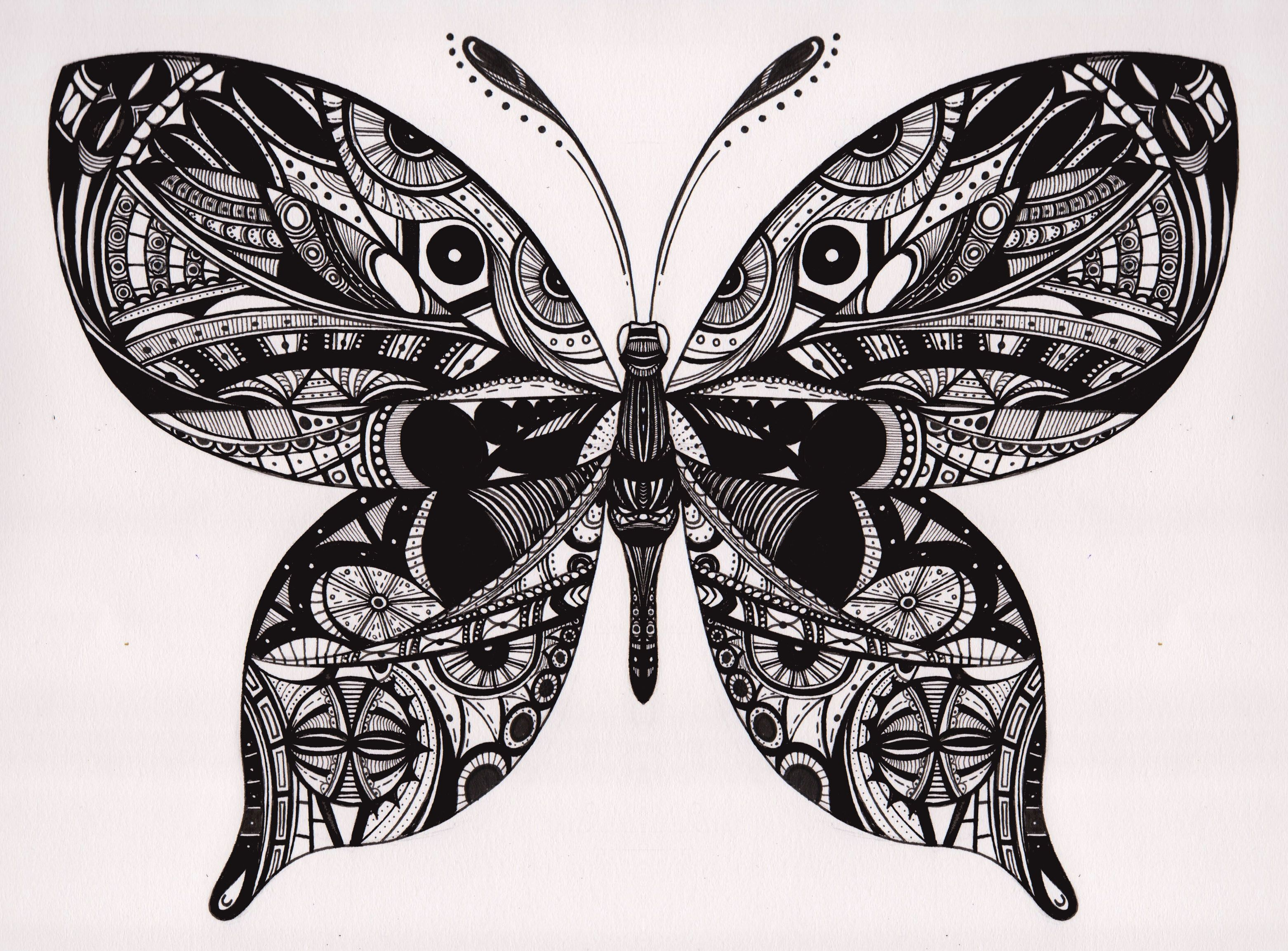 Butterfly In Black Ink Line Art Tattoo Inspired Design