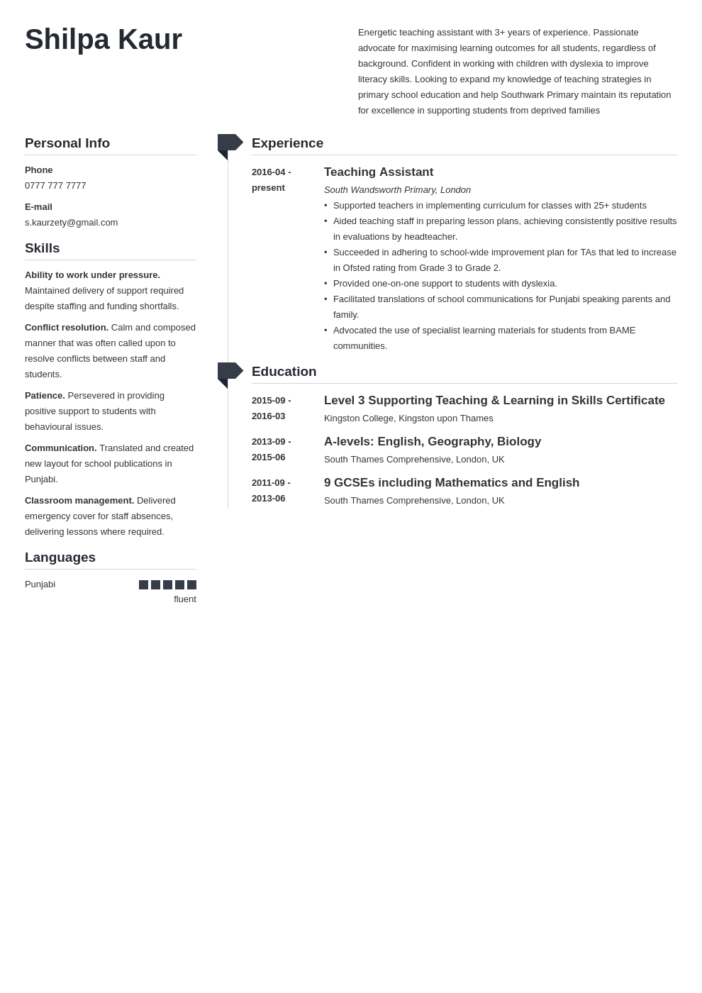 uk teaching assistant cv example template muse in 2020