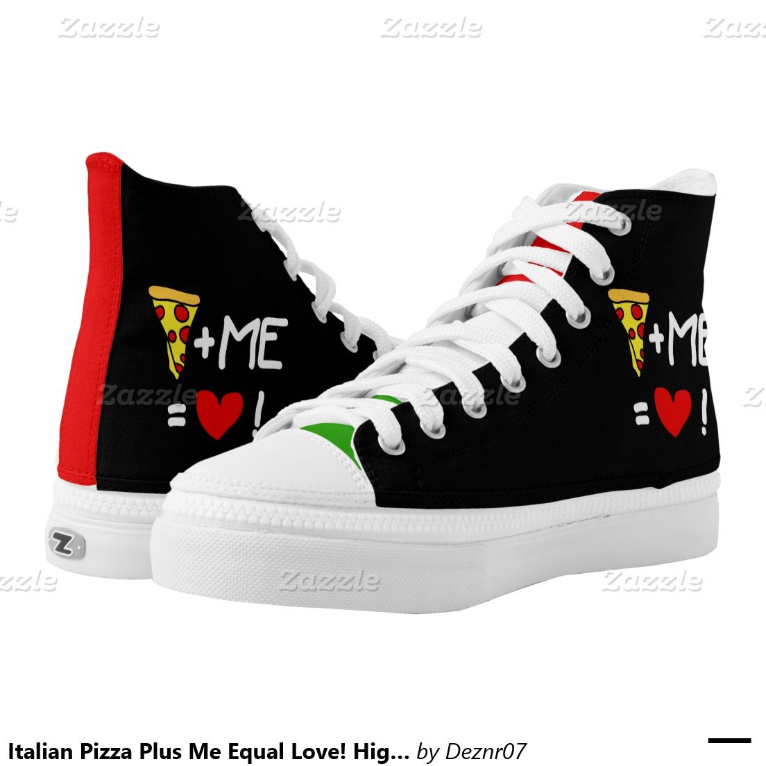 fde4147370 Italian Pizza Plus Me Equal Love! High Top Sneaker Printed Shoes