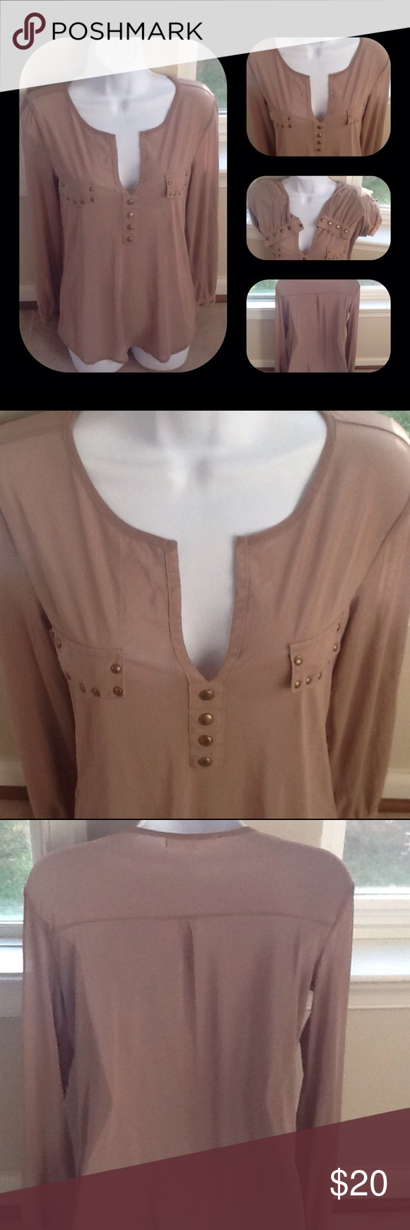 f598261a33e 👚Beautiful Taupe Blouse👚 Very lovely blouse buttons give a nice accent to  the taupe color long sleeve. V neck simple but so cute!! Eve  Olivia Tops  ...