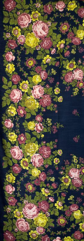 Vintage Russian shawl with glowing roses