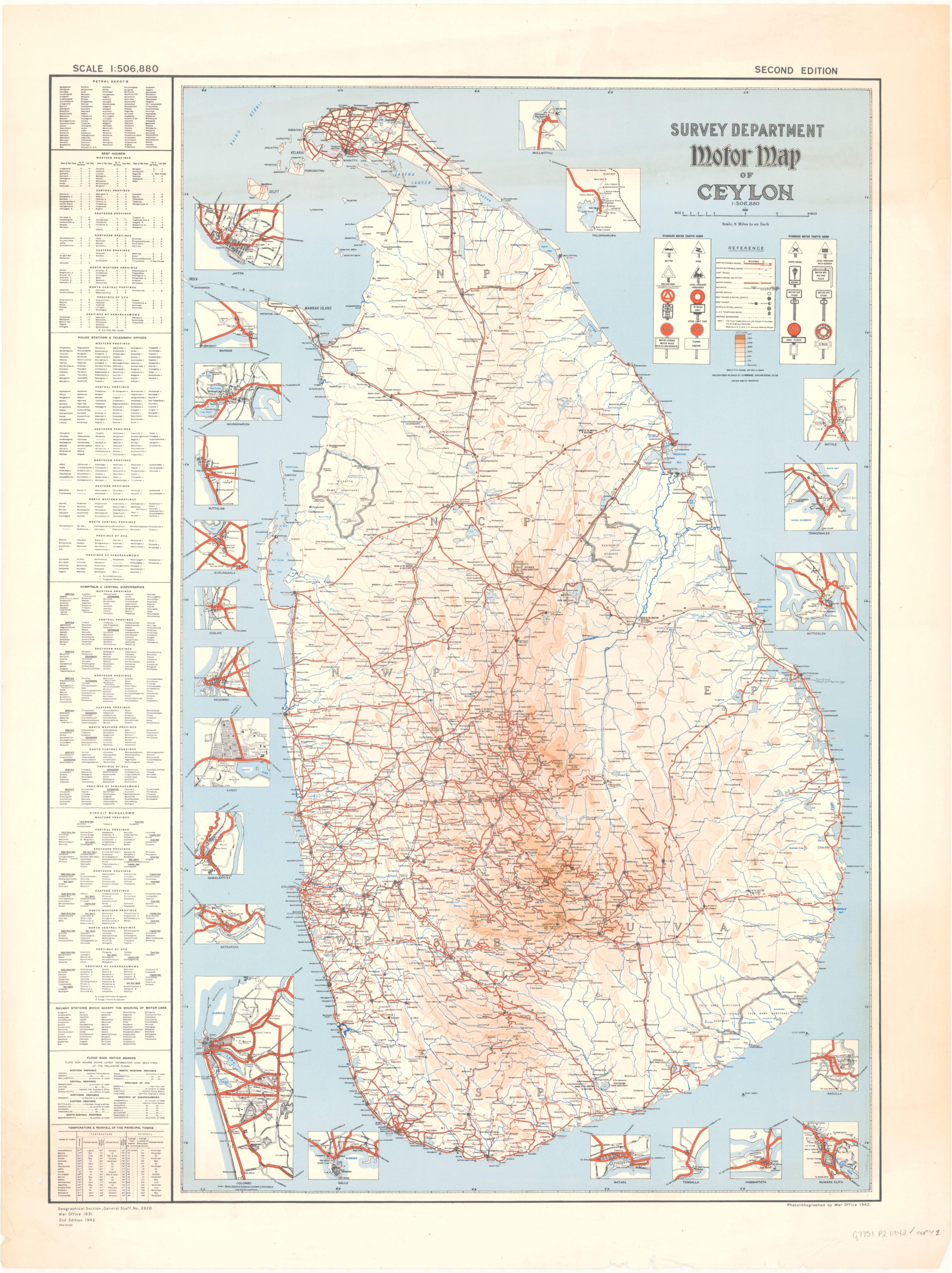 Road Map Of Ceylon Sri Lanka In 1942 Map Cartography Sri Lanka