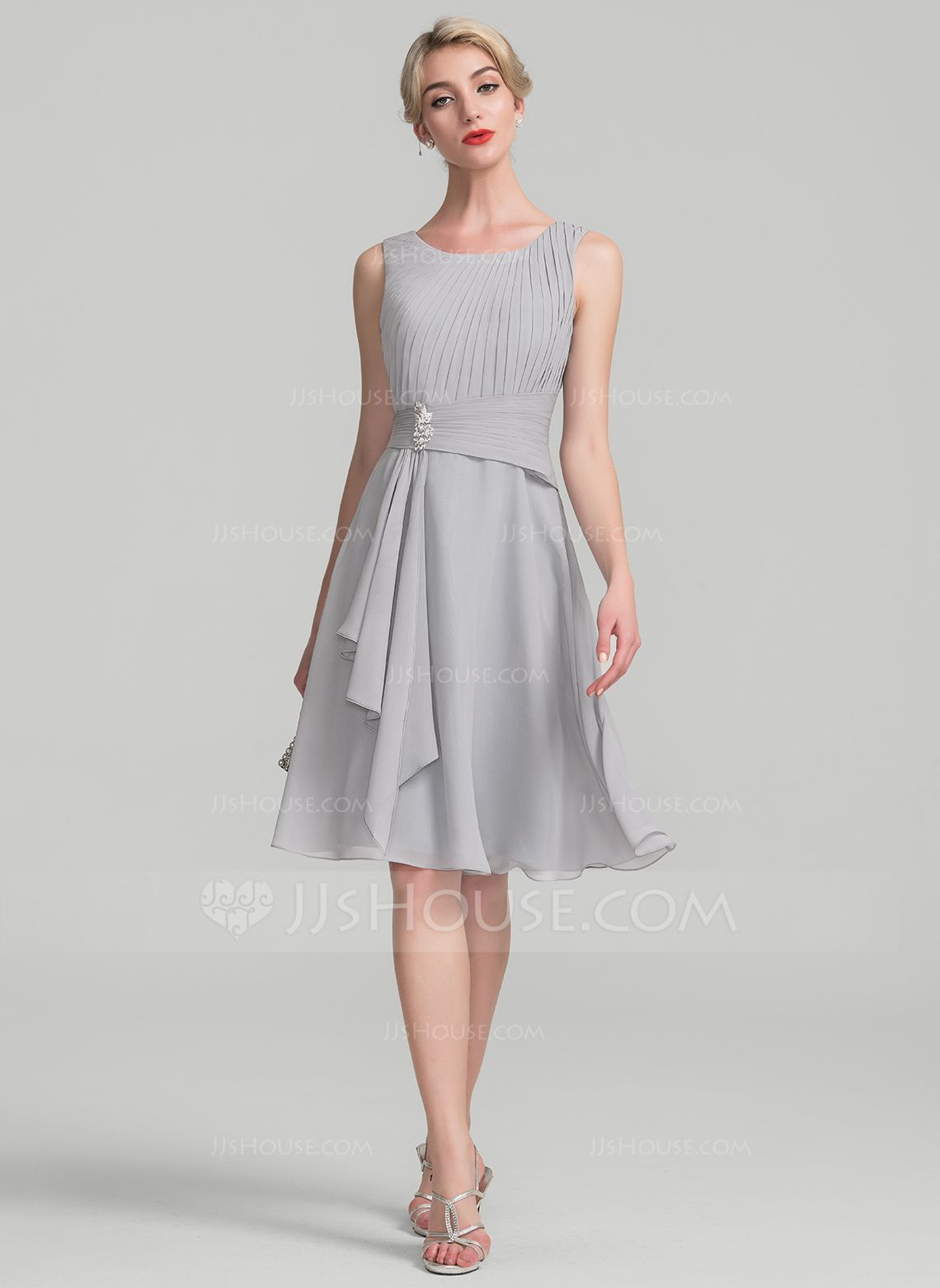 35ed422d7d76 A-Line Princess Scoop Neck Knee-Length Chiffon Mother of the Bride Dress  With Beading Cascading Ruffles (008114231) - JJsHouse