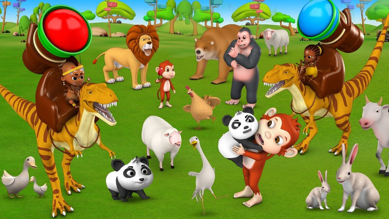Cartoon for Kids Tribal Babies and Dinosaurs Color Balls