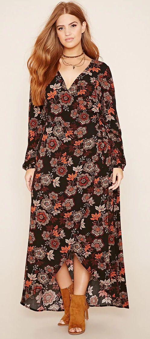 Plus Size Floral Maxi Dress Plus Size Bohemian Dresses