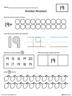 number 19 practice worksheet writing numbers printable worksheets and worksheets. Black Bedroom Furniture Sets. Home Design Ideas