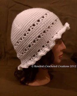 Kendra's Crocheted Creations: Vintage white hat with ruffled brim