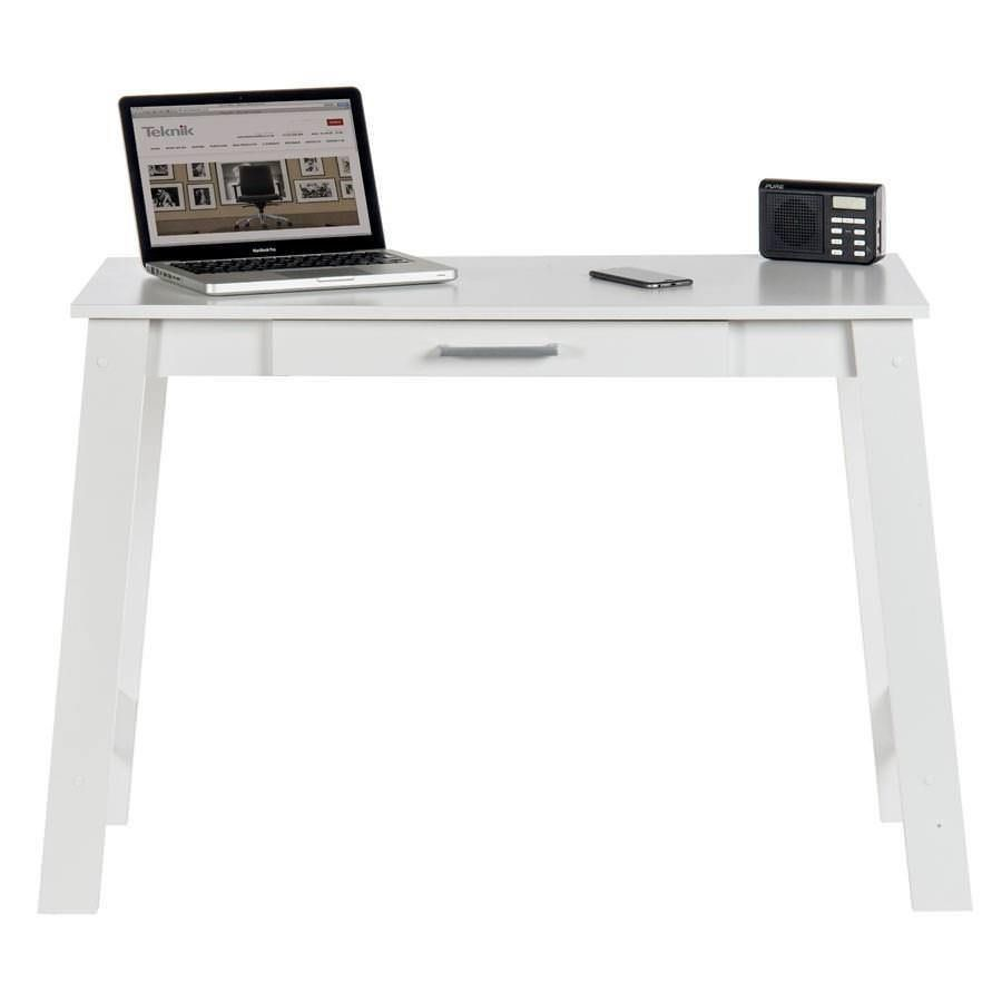 White Narrow Desk Minimalist Office Table Computer Study Storage Drawer New