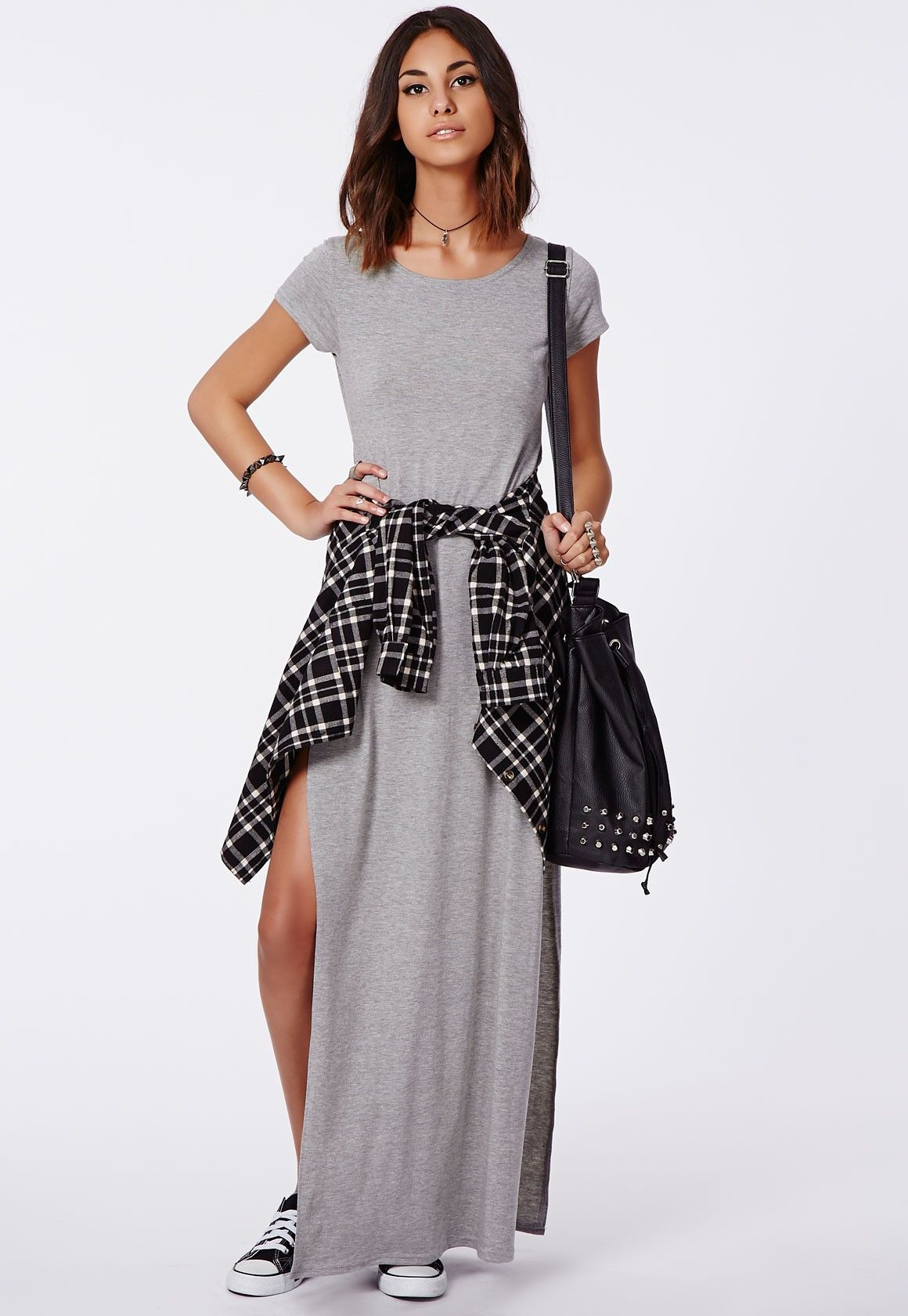 Side Split Maxi Dress Shirt Tied Around The Waist
