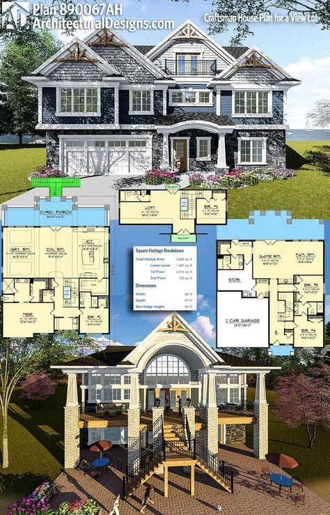 Plan 890067ah Craftsman House Plan For A View Lot House Plans Craftsman House Craftsman House Plan