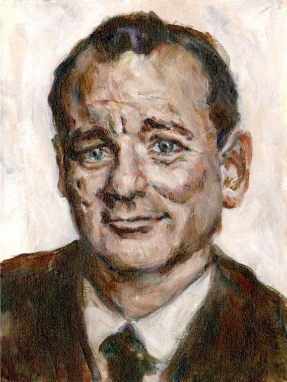 Bill Murray  5x7 Print  Portrait Painting by HeatherBuchanan, $12.00