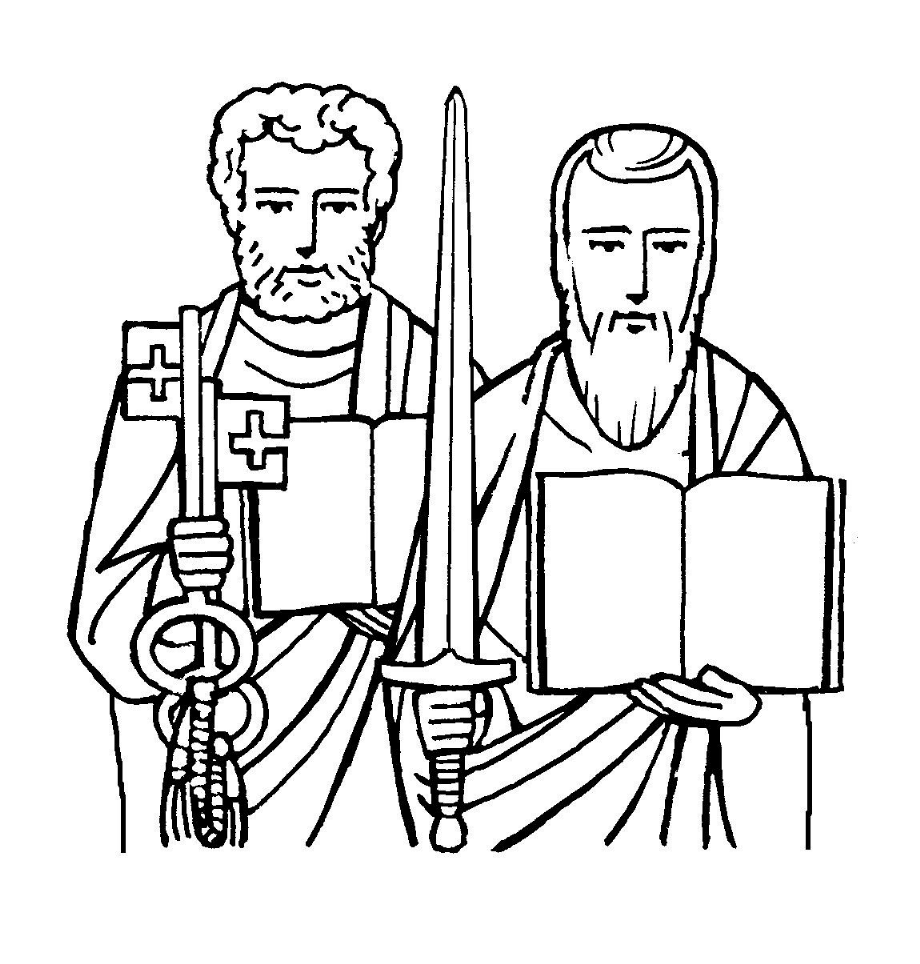saints peter and paul catholic coloring page june feast days