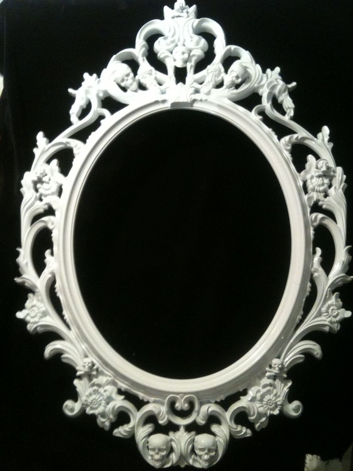 Gloss White Skull Oval Picture Frame Mirror Shabby Chic Baroque ...