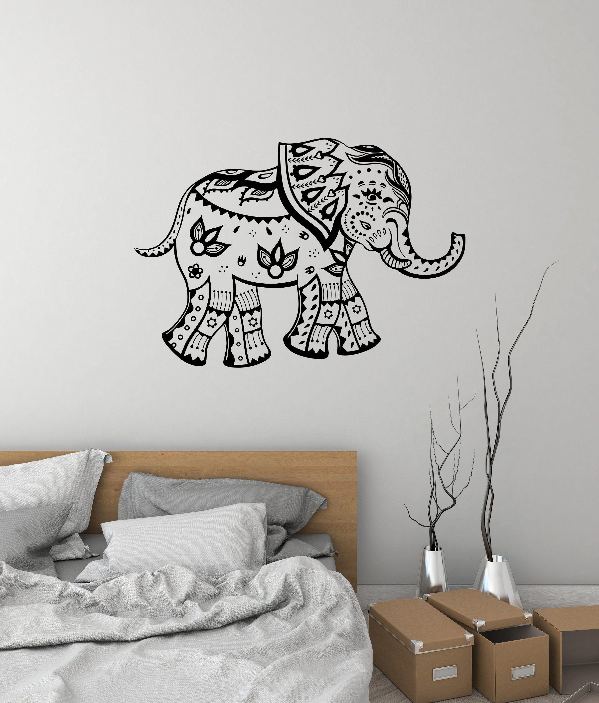 Indian Elephant Vinyl Wall Decal Animal India Living Room