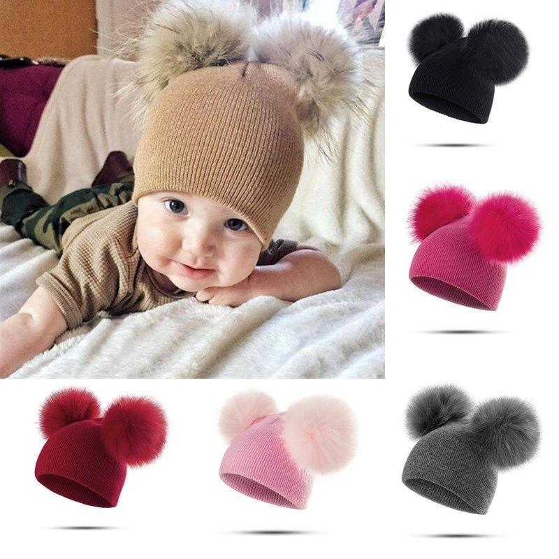 d0510da2f3b 2019 Winter Warm Knitted Cap Two Wool Ball Detachable Pompom Crochet Hat  Knit Hats Girls Cap Baby Kids