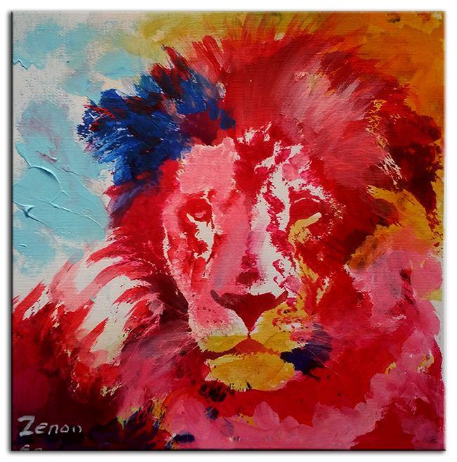 Dieren Schilderij, Acryl Schilderij Leeuw van Zenon ...