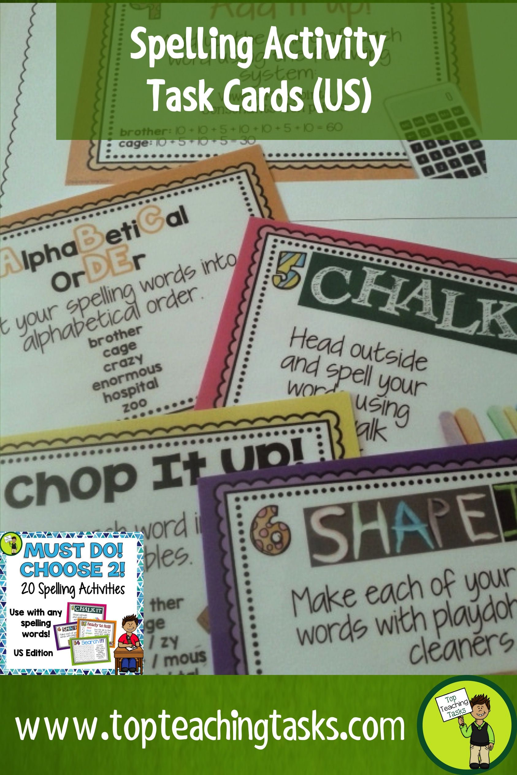 Back To School These Spelling Activity Task Cards And Print And Go Student Worksheet Timesavers