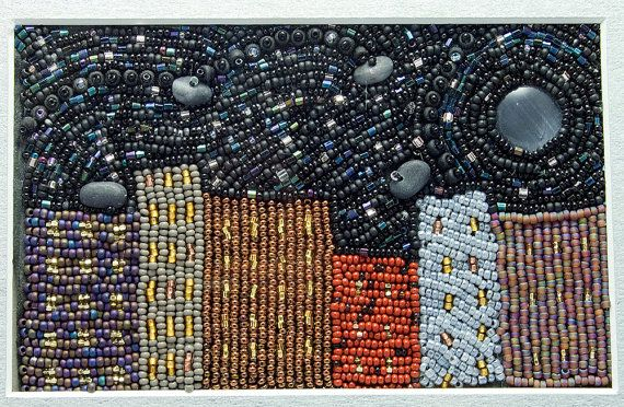 City Nights // Beaded Painting // Bead Embroidery // Mixed Media Art // Beadwork // Seed Beads