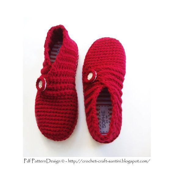Zapatillas de abrigo costilla rojo - básico del ganchillo patrón ...