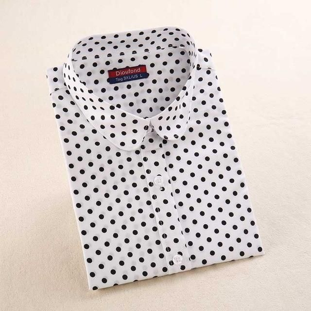e4e26045d6f4d Dioufond Women s Polka Dot Cotton Blouse Shirt Long Sleeve Casual Turn-down  Collar 2018 New Tops Plus Size S-5XL