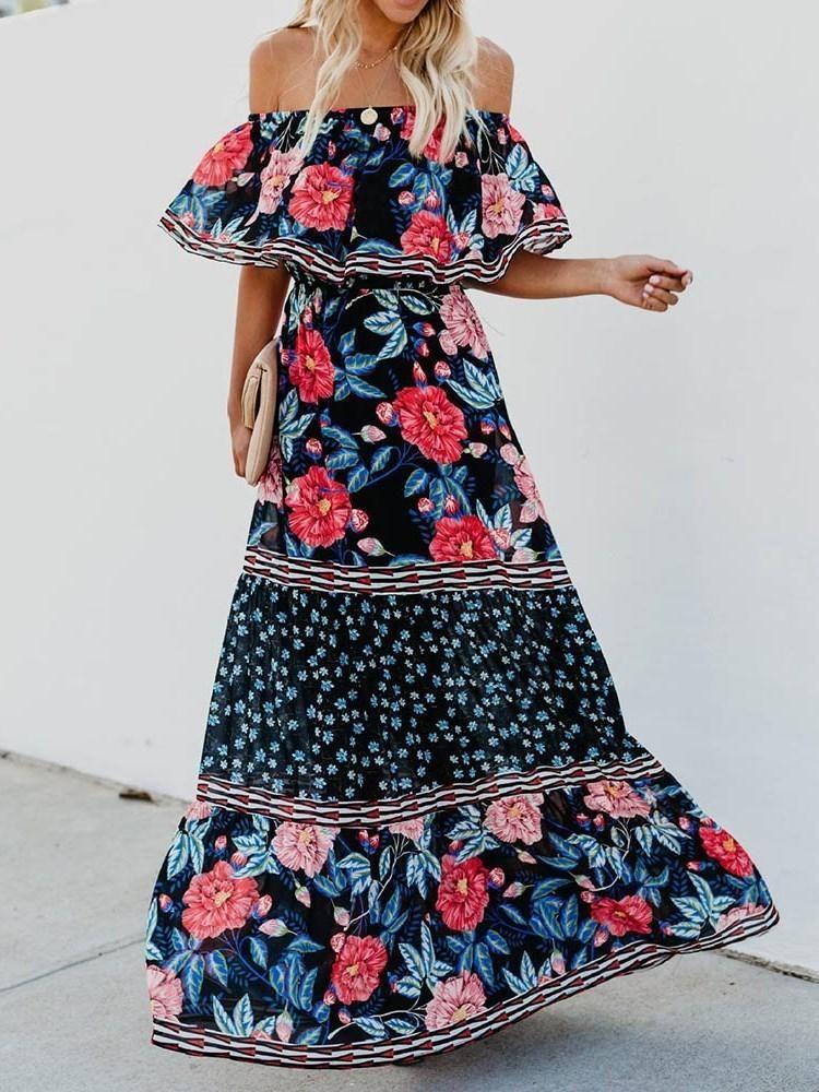 923779706c4b PRINT LONG SLEEVE ANKLE-LENGTH FASHION COLOR BLOCK DRESS  Dress  Leatrend