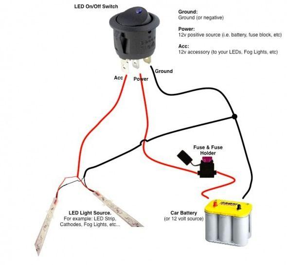 2 way rocker switch wiring diagram diagram lighting, led strip, wire 12 Volt Switch Wiring Diagram at 12 Volt 2 Way Switch Wiring Diagram